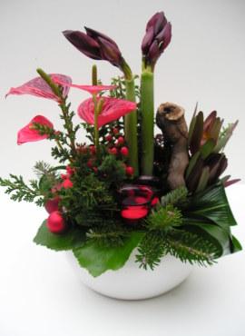 kerstbloemstuk rood